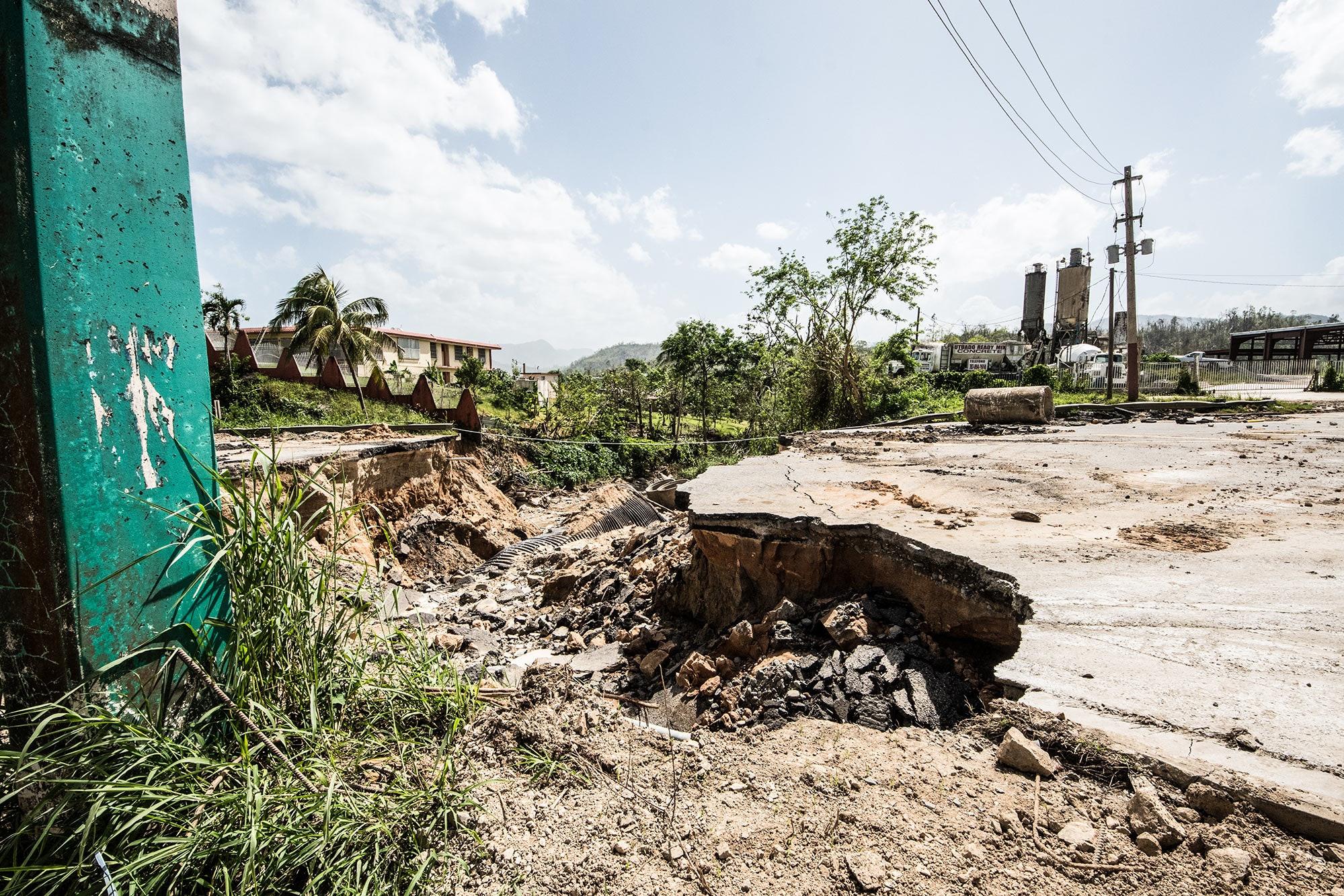 Mud slide after Hurricane Maria